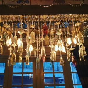 Hanging chandelier made from Champagne Flutes