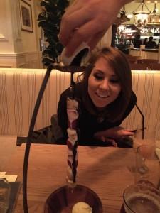 Ellie loving the Strawberry & Marshmallow Kebab