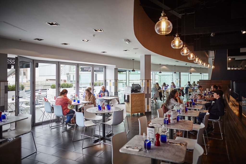 Pizza express at Liverpool One opens with a refurbishment interior